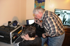Terry - W5TG with grandson itching to grab the mike!
